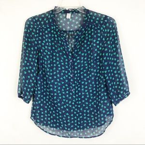Old Navy Sheer Heart Popover Pop Sz Medium